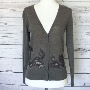 ANN TAYLOR LOFT Petites Brown Cardigan Lace SP